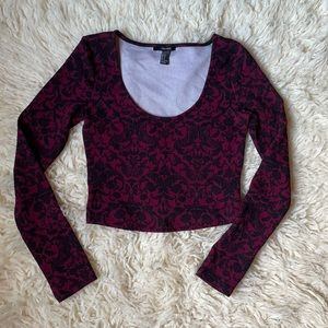 Cropped Goth Floral Long Sleeve Sz S